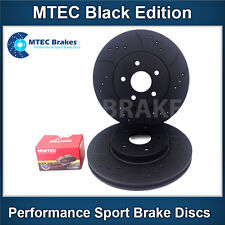 Mercedes SL350 R230 03-13 Drilled & Grooved Rear Brake Discs Black Edition+ Pads