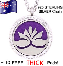 Crystal Lotus Aromatherapy Oil Diffuser 925 Silver Chain Necklace 10 FREE PADS