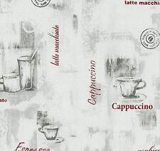 Küchentapete Kaffee Tapete P+S Easy Wall grau rot 13382-20 (2,14€/1qm)