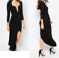 Vestiti da donna a manica lunga nero asimmetrico