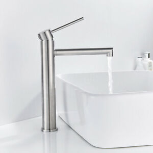 Tall Bathroom Basin Mixer Taps Round Stainless Steel Cloakroom Faucets Tap //