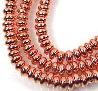 50 Czech Glass Rondelle Beads - Copper Penny 4x2mm