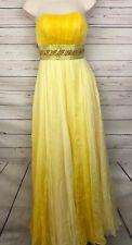 Sherri Hill Dress Sz 2 Yellow Ombre Silk Homecoming Prom Pageant Beaded Waist A9