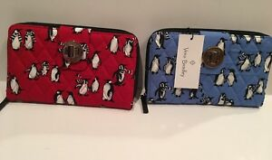 NWT Vera Bradley TURN LOCK WALLET Playful Penguins Blue or Red Clutch Quilted