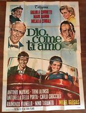MANIFESTO 4f S,DIO COME TI AMO Gigliola Cinquetti,Damon,1966 AUTO CAR SPIDER