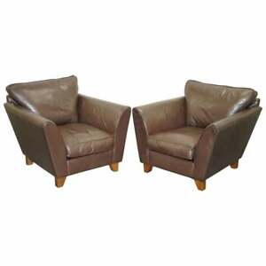 PAIR OF MARKS & SPENCERS BROWN LEATHER ARMCHAIRS RRP £1099 EACH CONTEMPORARY
