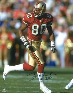 Jerry Rice San Francisco 49ers Autographed 16x20 Red Running Photo - Fanatics
