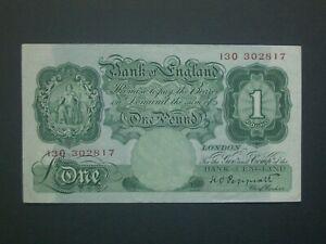 **Nice ''13O'' Crisp 'AEF' 1934 £1 Peppiatt  Banknote ***
