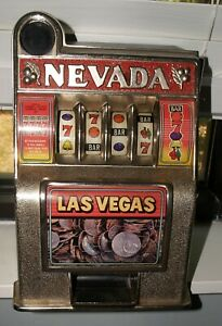 "NEVADA Las Vegas Metal Toy 11"" Mini Slot Machine Bank One Armed Bandit Fun Works"