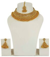 2211 Bollywood Indian Gold Plated Ethnic Bridal Polki Necklace Earrings Jewelry