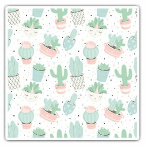 2 x Square Stickers 10 cm - Cactus Cute Little Plants Cool Gift #14833