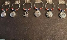 SET OF 6 MILITARY SUPPORT WINE GLASS CHARMS PENDANT DRINK MARKERS