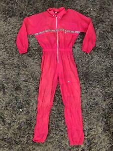 Vintage Champion 80s 90s One Piece nylon SKI SUIT Snowsuit rain gear PINK L