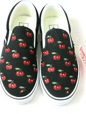 Vans Women's Classic Slip On Cherries Black Red White Canvas Shoes Size 9.5 NWT