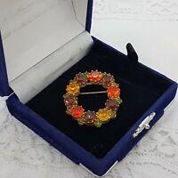 VINTAGE Sparkly Ring Wreath Brooch Collar Pin Round Orange brown Autumnal Shade