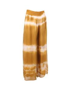 Lagenlook lined Silk Tie Dye Loose Trousers Mustard