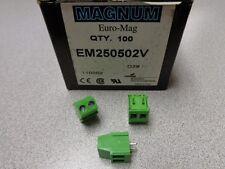 (100) EM250502V EURO-MAG MAGNUM 2 POS TERMINAL BLOCK 16A 300V 12-26AWG