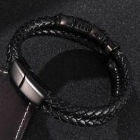 Punk Braid Leder Seil Männer schwarz Edelstahl Armband Mode Armreifen Geschenke