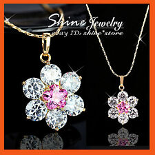18K GOLD GF P170 FLORAL CLUSTER PINK DIAMOND WEDDING SOLID NECKLACE PENDANT GIFT