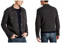 Levi's Men's French Terry Trucker Jacket Cotton Blend Dark Grey Phantom Levis