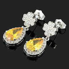 Schmuck CZ 18K White Gold Plated Pear Cut Dangle Drop Yellow Citrine Earrings