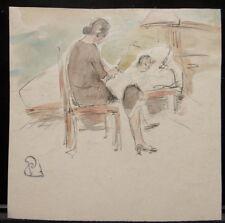 Peinture  Aquarelle PAUL COUVREUR - Enfant au lit vers 1930 - PC181