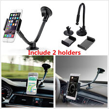 Long Arm Car Dashboard Windshield Cellphone Mount Holder Cradle +2 Size Holders
