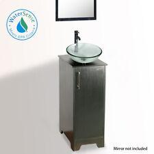 "Eclife 14"" Bathroom Vanity W/ Top Tempered Glass Vessel Sink Black Faucet Drain"