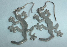 VINTAGE SILVER TONE LIZARD SALAMANDER DANGLE PIERCED EARRINGS IN GIFT BOX