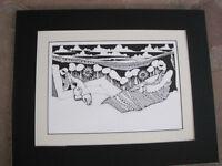 Amado Pena Native American Yaqui BW Rare Matted Print NOVIOS BRIDE AND GROOM