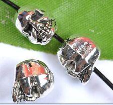 FREE SHIP 10pcs Tibetan Silver Skull Beads Charms Pendants 9x7mm SH1349