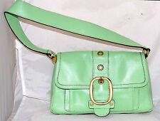 Banana Republic Chartreuse Green Leather Shoulder Bag with Buckle Decoration