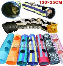 Folding Pet Cat Rabbit Fun Tunnel with TWO Holes&Toys Pop Out 130cm Multicolor