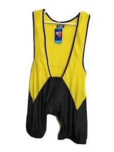 Salas pro team Men's New X-LARGE Padded Cycling Bib black/Yellow(#6712