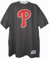 Philadelphia PHILLIES P MLB AUTHENTIC MAJESTIC Grey TEE SHIRT Mens L 2XL