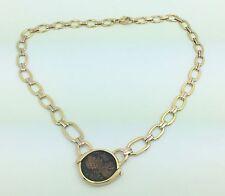 Ladies Estate Piece 18K Gold Tri Color Ancient Coin Necklace Pendant