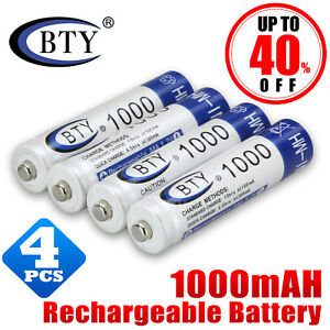 4X GENUINE BTY® AAA Rechargeable Battery Recharge Batteries 1.2V 1000mAh Ni-MH