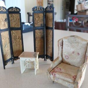 Vintage Louis Marx & Co. Japanese Doll House Furniture Lot 4 Pcs. Plastic  1:16