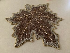 """NICOLE MILLER 15""""  silver brown beaded leaf shaped  placemats NWT"""