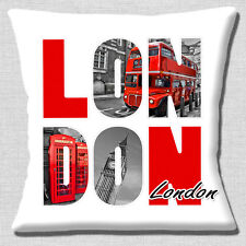 London Icons Cushion Cover 16x16 inch 40cm Big Ben Red Bus Telephone Box Letters
