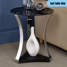 Contemporary Round Accent End Table Black Glass Top Metal Base Lamp Decor Stand