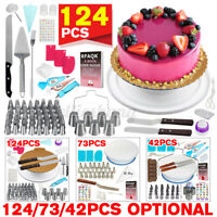 124/73/42pcs Cake Baking Decorating Kit Cupcake DIY Turntable Tools Supplies Set
