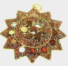 Antique Vintage Gold Victorian Rose Cut Bohemian Garnet Pendant Needs Stones B93