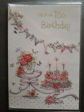 FEMALE 18TH BIRTHDAY CARD WITH PINK + WHITE ENVELOPE - U.K SELLER
