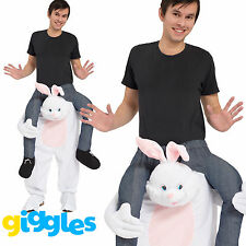Rabbit Piggy Back Ride On Me Mascot Mens Fancy Dress Easter Bunny Carry Costume