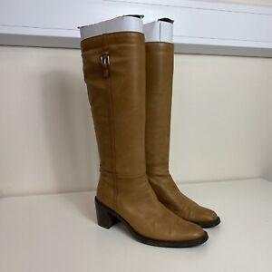 Principles Ladies Brown Tan Leather Knee High Block Heel Boots UK 5 Eur 38