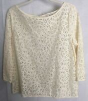 LOFT Top M Lace Cut Out Blouse Ruffles Cream Ivory Colored Outline See Through