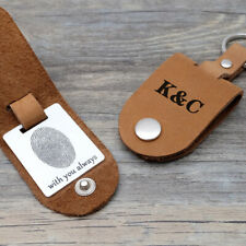 Personalized Leather Keychain with Case Custom Fingerprint Keyring Gift for Him
