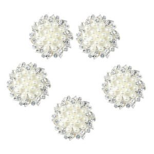 5x Diamante Pearl Crystal Flower Craft Buttons Jewelry Making Findings 32mm