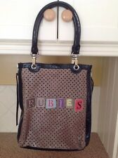 FANTASTIC BARBARA RIHL BEIGE & BLACK COW HIDE SHOPPER BAG USED SIGNS OF USE